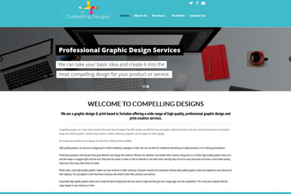 Website designed for Compelling Designs in Royal Wootton Bassett