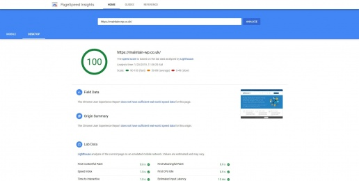 Website Optimised for Google Page Speed Insights